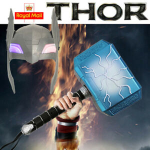 Avengers Thor Mjolnir Hammer Helmet LED Glowing and Sounds Halloween Cosplay UK