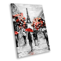 Black White Red Paris Retro Portrait Scenic Canvas Wall Art Large Picture Prints