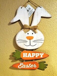 """CUTE 15.5"""" Easter Bunny Welcome Glitter Rustic Wood Hanging Wall Decor Door Sign"""