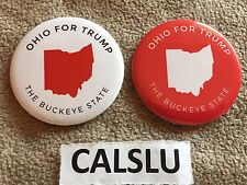 LOT OF (2) DONALD TRUMP ☆OFFICIAL☆ OHIO ☆CAMPAIGN RALLY☆ PIN BACK BUTTONS
