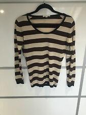 John Smedley 100% cream brown black stripe cotton scoop neck Jumper Size S