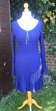 Phase Eight Wool Dress-Navy Blue-Skater Style/Cable Knit-UK 14 Prodige