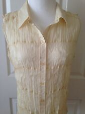 ESSENTIALS BY MILANO LOVELY YELLOW SHIMMERY CRINKLE SHEER SLEEVELESS BLOUSE-SZ L