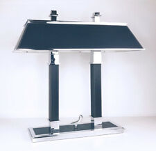 Ralph Lauren Home Blue Leather & Chrome Student Desk Bankers Table Light Lamp