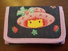 Blue Strawberry Shortcake Tri-fold Wallet w/ Sparkly Accents, Zippered Pocket