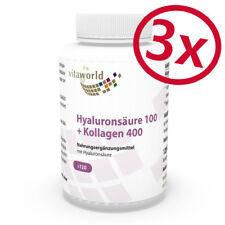 Vita World 3er Pack Hyaluron Säure 100 + Kollagen 400 3 x 120 V-Kapseln Wellness