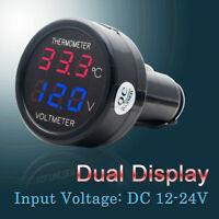2 in1 Auto 12-24V Rosso BLU per Doppio Voltmetro per termometro digitale a LED