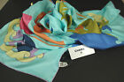 """Chanel Multicolor Turquoise Tropical Print 34"""" x 34"""" Square """"CC"""" Silk Scarf NEW"""