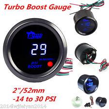 "Universal 2"" 52mm Black Shell Car Digital Blue LED PSI Turbo Boost Gauge Meter"