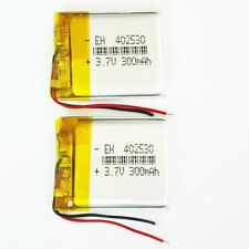 2 pcs 3.7V LiPo Polymer Rechargeable 300mAh Battery 402530 For MP3 Video Pen DVD
