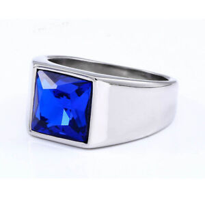 Men Women Wedding Ring Stainless Steel Square Blue Zircon Polished Silver Ring