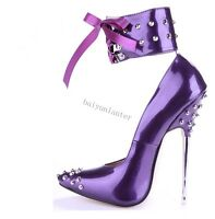 Ladies Sexy Dancing Super High Heel Rivets Pointy Toe Stilettos Nightclub Shoes