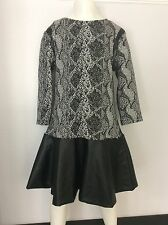 Miss grant Black Grey White Dress Age 11 Years / 40 146/152 Vgc Leather Panel