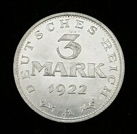 Germany 1922-A 3 Mark Coin Weimar Republic KM#29 Uncirculated