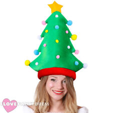 CHRISTMAS TREE HAT ADULT UNISEX NOVELTY CHRISTMAS XMAS FANCY DRESS WITH BAUBLES