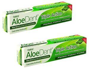 Aloedent Triple Action sans Fluorure Dentifrice 100ml (Paquet De 2)