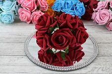 1 Bunch Colourfast Foam Rose Bouquet Wedding Artificial 6 Flowers 38 Colours Ruby