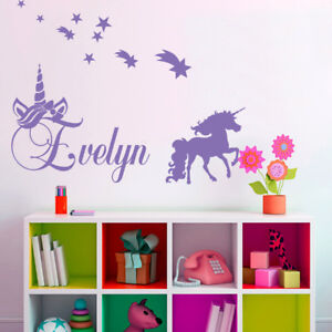 CUSTOMISE NAME & Unicorn ,stars Kids Removable Wall Decal for Girls Room