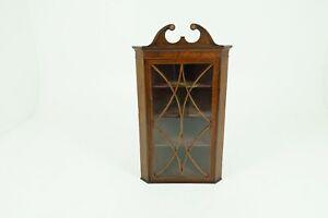 Antique Georgian Inlaid Walnut Hanging Corner Cabinet, Scotland 1790 1689