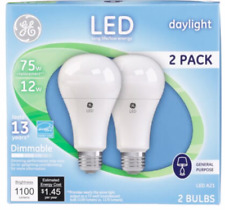 2 Pack GE LED Daylight A21 Bulbs 12 Watts 75 Watt Replacement Dimmable