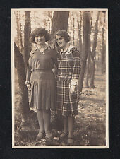 Antique Photograph Two Young Women in Cool Outfits Standing in Woods