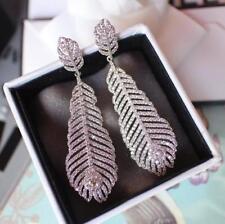 Women's Girl's Feather Crystal Bridal Earrings Chandelier Rhinestone Earring
