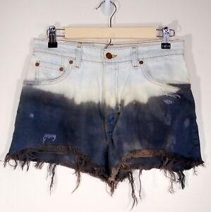 Vintage 550 Levi's Jean Shorts High Waist Distressed Dip Dye Bleached Sz 9 28