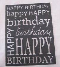 """Poppy Stamps 2 Die Cut Happy Birthday Card Fronts Black 4.25"""" X 5"""" Fits A2 Card"""