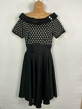 BNWT WOMENS DOLLY&DOTTY BLACK POLKA DOT 50's VINTAGE ROCKABILLY SWING DRESS UK12