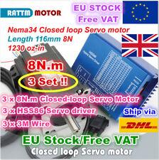 【UK】3 Sets 8N.m Nema34 116mm Hybrid Closed Loop CNC Servo Motor 6A+HSS86 Driver