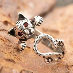 Silberring Silber 925 Ring  Verstellbar Offen Katze R0628  🐱