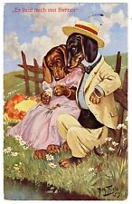 POSTCARD THIELE DOGS DACHSHUNDS WITH DAISIES T.S.N. SERIES 949