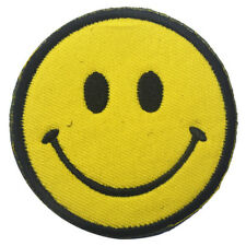 Happy Smile Logo Large Hook Patches Cloth Embroidered Smiley Face Yellow Badge