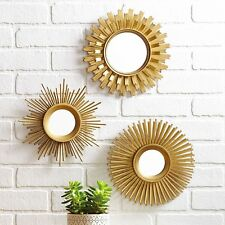 Living Room Wall Mirror Set 3 Piece Round Sunburst Gold Finish Indoor Home Decor