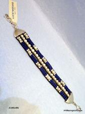 "Lucky Brand Silver Tone Imitation Pearl Beaded Blue Bracelet 8"" adj  $39  NEW"