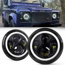 "7"" inch Round LED Black Headlight White Halo Angel Eye For Land Rover Defender"