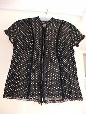 Principles Sheer Blouse Stretchy Mesh-Like With Frill Lace Velvet Trim Size 14