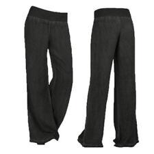 Women's Fashion Loose Long Pants Pure Color Linen Yoga Home LJ Black XXXXXL