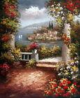 Wall art Canvas Print Oil painting Mediterranean garden printed on canvas L1013