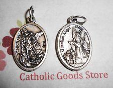 "Saint. Michael the Archangel - Guardian Angel -Italian Silver-tone OX 1"" Medal"