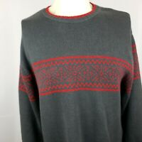 Tommy Hilfiger Mens L Grey Red Winter Pullover Sweater Cotton Blend Geometric