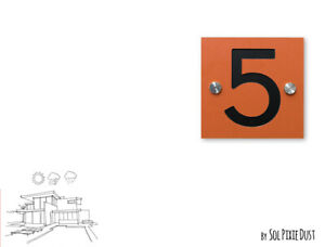 Modern House Numbers, One Number Square Orange Alucobond with Black Acrylic Sign