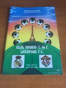 LIVERPOOL Vs REAL MADRID 1981 - European Cup Final Football Programme