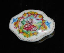 Limoges Cadeaux D'amour Covered Trinket Box w/ Handpainted Lady in Swing - Exc