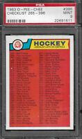 1983-84 O-Pee-Chee NHL Checklist 265-396 Card #396 PSA 9