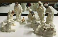 Vintage Nativity Set  Gold Trim & multi-color Jewel Accents 10 piece Porcelain