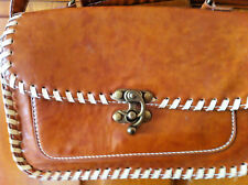 BROWN LEATHER LOOK SHOULDER/HAND BAG SIZE 11 INS X 7 INS