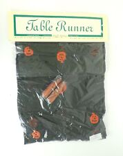 "Halloween Table Runner 72 x 13"" Sheer Black Embroidered Pumpkin Jack O Lantern"