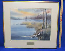 Scenic Lake Water Color Print Framed Matted by Joyce Gow Gold Frame Blue Yellow