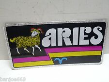 1970's Car Auto Tag Metal Plate Aries Astrology Chroma Graphics Horoscope
